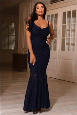 Sistaglam Loves Jessica Wright Adard Navy Lace Cowl Neck Maxi Dress