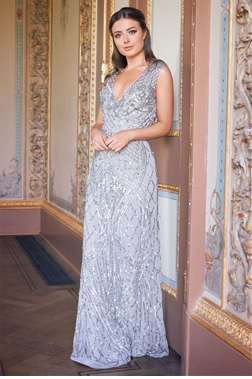 Sistaglam Memo grey all over embellished sleeveless maxi dress