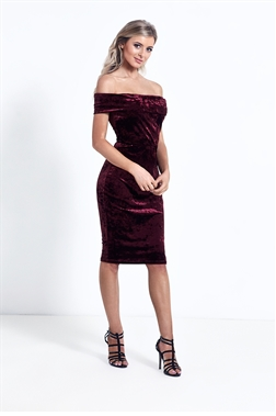 Sistaglam Briley Burgundy Off The Shoulder Bodycon Dress