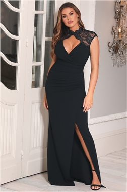 SISTAGLAM LOVES JESSICA WRIGHT SULA BLACK LACE NECK DRESS