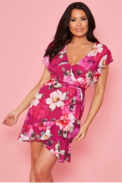 Sistaglam loves Jessica Wright Daysea multi floral v neck frill dress with tie belt