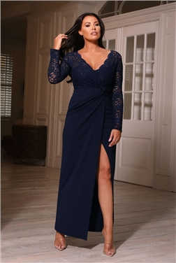 Sistaglam Loves Jessica Wright Poli Navy Long Sleeve Lace Dress