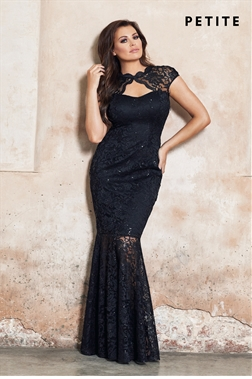 Petite Jessica Wright Alexus Black Lace Keyhole Maxi Dress With Scallop Detail