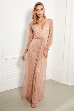 Sistaglam Daisianne rose gold embellished long sleeve wrap maxi dress