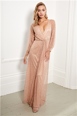 SISTAGLAM DAISIANNE ROSE GOLD PETITE EMBELLISHED LONG SLEEVE WRAP MAXI DRESS