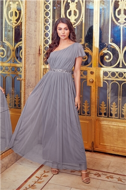 MARIAH GREY ONE SHOULDER SEQUIN BELT MAXI DRESS