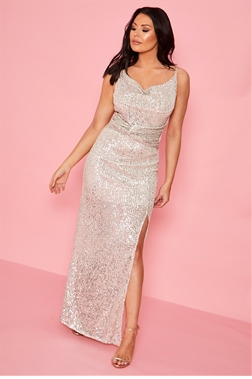 Sistaglam loves Jessica Wright Clarici silver glitter rouching maxi dress with side split