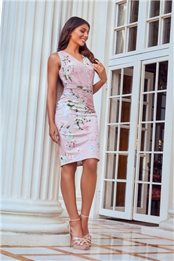 SISTAGLAM LOVES JESSICA WRIGHT MOLLY PINK MULTI FLORAL BODYCON DRESS
