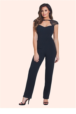 Jessica Wright Clancy Black Lace Sweetheart Jumpsuit