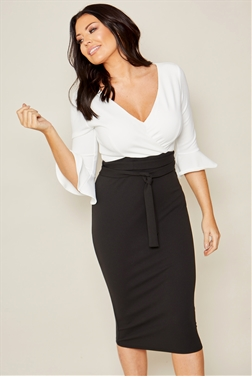 bd6132fbf0a Sistaglam loves Jessica Wright Ema black white frill sleeve stretch wrap  midi bodycon dress