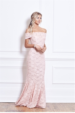 Sistaglam Louise Blush Pink Bardot Sequin Maxi Dress