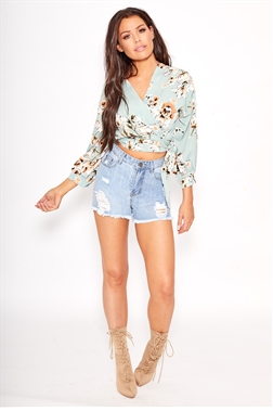 Sistaglam Loves Jessica Wright Kevi Mint floral print wrap top with tie