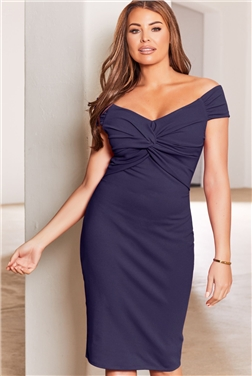 SISTAGLAM LOVES JESSICA WRIGHT CAROLYN PETITE NAVY WRAP KNOT MAXI DRESS