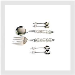 PLG Beaded Salad Servers with Dessert Spoons