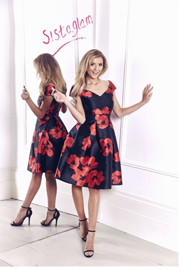 Sistaglam Rose Red and Black Floral Dress