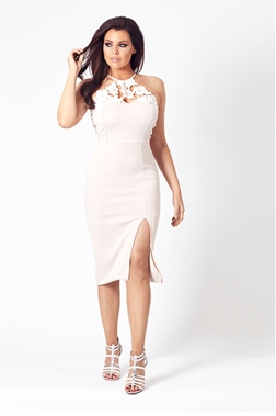 Jessica Wright Besie Nude Lace Embellishment Bodycon Dress