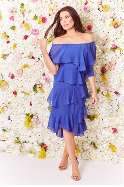 Sistaglam Loves Jessica Wright Anjel blue cobalt bardot frilled midi dress