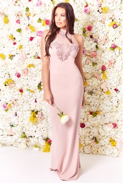 Sistaglam Loves Jessica Wright Aurelia Nude VIP Embellished Mesh Lace Trim Halterneck Maxi Dress