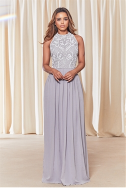 Sistaglam Luna grey embellished halter neck maxi dress