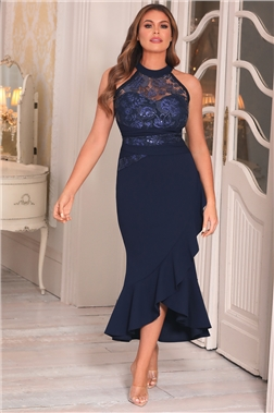 Sistaglam Loves Jessica Wright Phillia Navy Lace top Frill Hem Midi Dress
