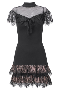 Sistaglam Tia doll black mesh high neck with short sleeves and frill midi dress