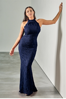 Sistaglam loves Jessica Wright Redy petite navy high neck halter neck maxi dress in sequin lace