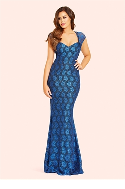Jessica Wright Analisa navy/Blue Sequin Lace Maxi Dress