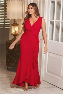 Sistaglam Loves Jessica Wright Anthea Red Maxi Frill Hem V-Neck Wrap Dress