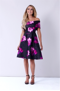 Sistaglam Cleo Multi Floral Off The Shoulder Top With Skater Style Skirt