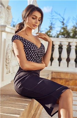 SISTAGLAM DOTTI MONOCHROME POLKA DOT DRESS