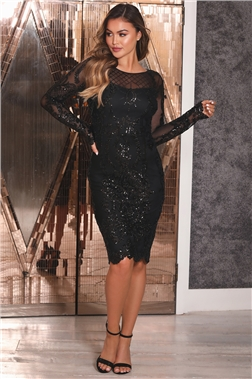 Sistaglam Fayre Black Sequin Mesh Long Sleeve Mini Dress