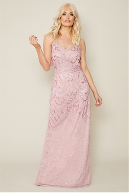 Sistaglam Flory baby pink embroidered maxi dress