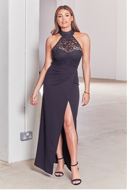 Sistaglam loves Jessica Wright Rayna black halter neck maxi dress