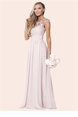 Sistaglam Beverley Rose Pink/Nude Lace Bridesmaid Maxi Dress