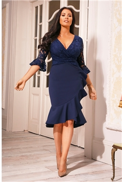 Tia Petite Navy Lace Top Frill Sleeve Dress
