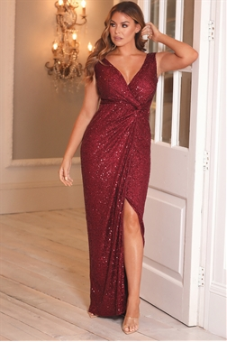 SISTAGLAM LOVES JESSICA WRIGHT SANDRA PETITE BERRY ALL OVER SEQUIN MAXI DRESS