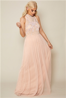 Sistaglam Halley Blush Embroidered Beaded Maxi Dress