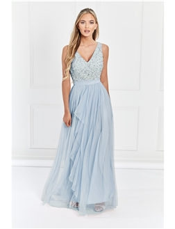 Sistaglam Yasmin Petite Blue Sequin v neck Detailed top Tiered Bridesmaid Dress
