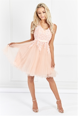 Sistglam Tenny Blush Mesh Embroidered Lace Skater Prom Dress