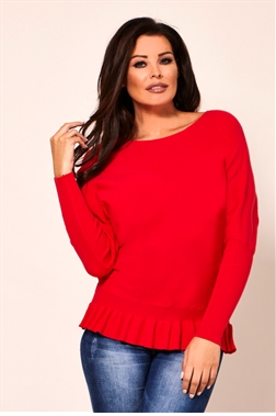Jessica Wright Barbara Red Long Sleeve Frill Knitted Jumper