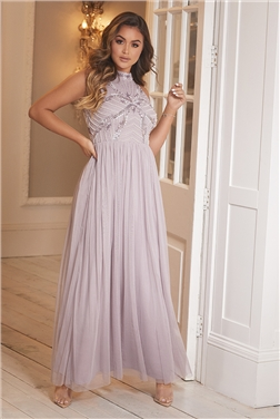 Sistaglam Halley Lilac embroided beaded maxi dress
