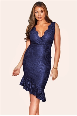 Sistaglam loves Jessica Wright Rosay Navy asymetric lace wrap bodycon dress