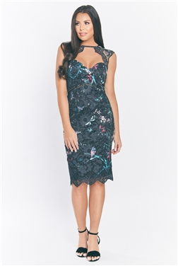 Jessica Wright Mattie Black Multi Floral Print Sweetheart Lace Cap Sleeve Midi Dress Petite