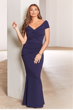 Jessica Wright Marena navy Knot Front Maxi Stretch Maxi Dress
