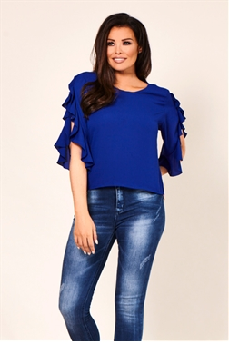Jessica Wright Nadya Royal Blue Frilled Sleeve Top