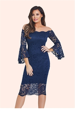 Jessica Wright Kelsea Navy Lace Bardot Bodycon Dress