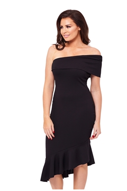 Jessica Wright Black Asymmetric Sleeve Gracen Midi Dress