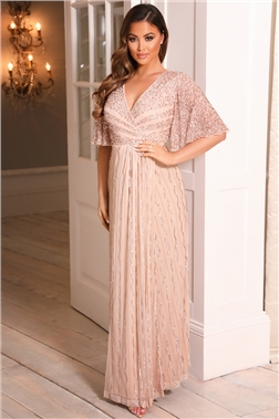 Sistaglam SHERIE ROSE GOLD batwing sleeve beaded maxi DRESS