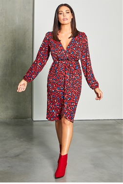 Jessica Wright loves Sistaglam Christia red multi leopard print waist tie wrap midi dress