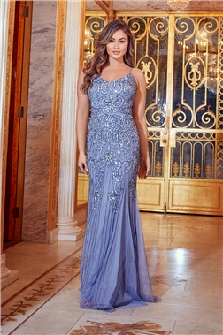 SISTAGLAM MAE BLUE SEQUIN MAXI DRESS